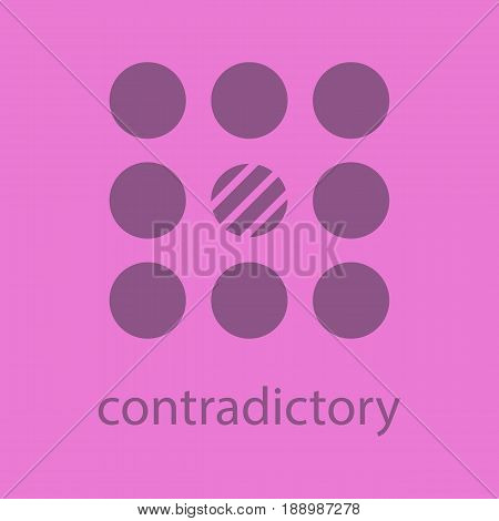 Contradictory glyph color icon. Silhouette symbol. Abstract metaphor. Negative space. Vector isolated illustration