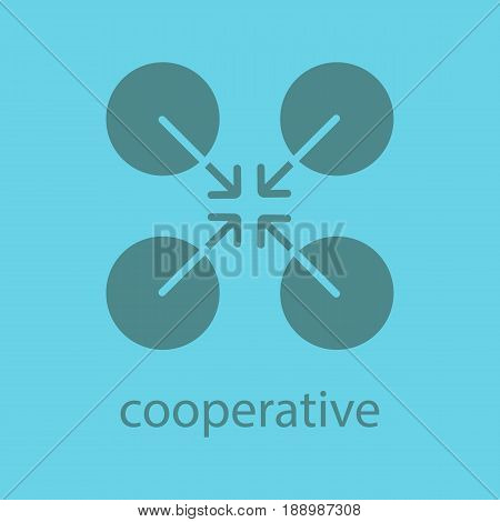 Cooperative abstract symbol. Glyph color icon. Silhouette symbol. Cooperation and teamwork abstract metaphor. Negative space. Vector isolated illustration