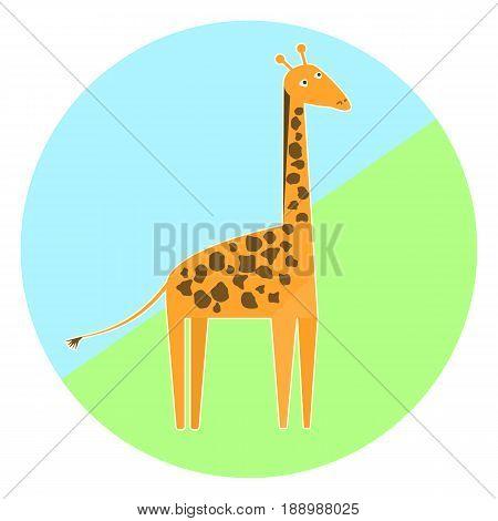 Cartoon colorful giraffe icon nice simple animal icon high orange giraffe with brown spots