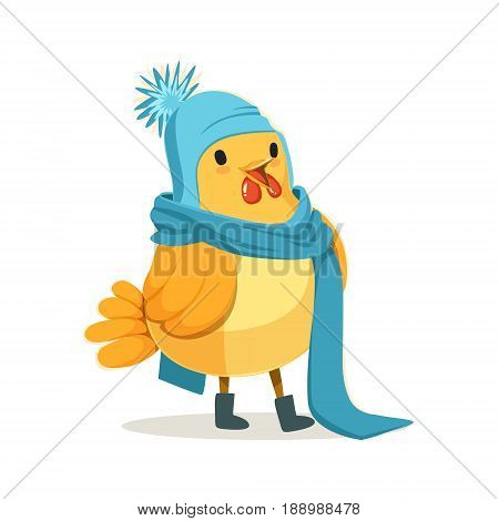 Funny chick wearing a blue knitted hat and scarf standing colorful character vector Illustration isolated on a white background