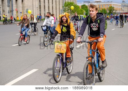 Moscow, Russia - May 28, 2017: Many cyclists participate in bicycle parade around the city centre
