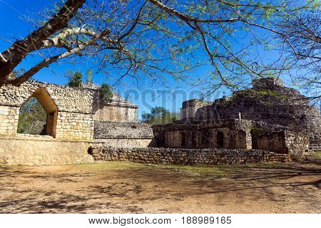 View of the entrance to the ancient Mayan ruins of Ek Balam near Valladolid Mexico