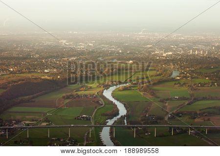 Aerial Of Muehlheim Ruhr Area Germany Europe