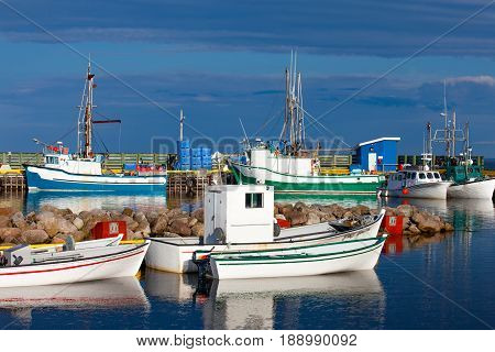 Colorful small fishing boats in harbor of L'anse Amour Labrador NL Canada