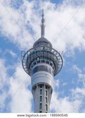 AUCKLAND NZ APR 16 2012: Auckland Sky Tower the tallest building of the Southern Hemisphere is 328 meters (1076 ft) tall on Apr 16 2012 in Auckland New Zealand