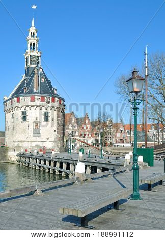 Village of Hoorn at Ijsselmeer in Noordholland Province,Netherlands