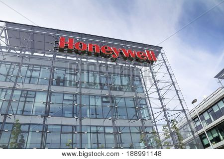 Prague, Czech Republic - May 22: Honeywell Company Logo On Headquarters  Building On May 22, 2017 In