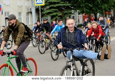 Orel Russia - May 28 2017: Bikeday. Bicyclists riding in crowd on street