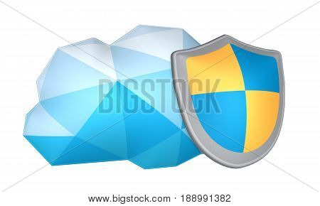 Cloud safety concept. Isolated geometric 3-D cloud and shield. Protecting the cloud with backup technology. Networking protection for a server crash. Storing HIPAA sensitive data. Secure cloud hosting concept.