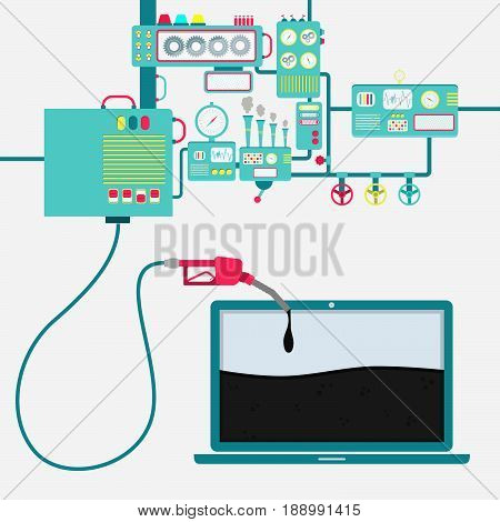 Machinery of factory refining oil and refueling a laptop. Laptop shape being filled by a oil with gas pump.