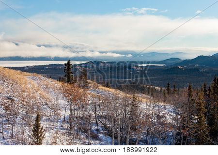 Fall Snow At Lake Laberge Landscape Yukon Canada