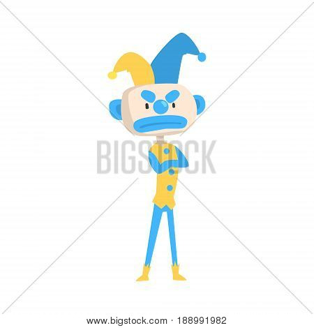 Angry cartoon jester colorful character vector Illustration isolated on a white background