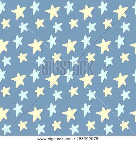 Doodle Stars Seamless Pattern Background.