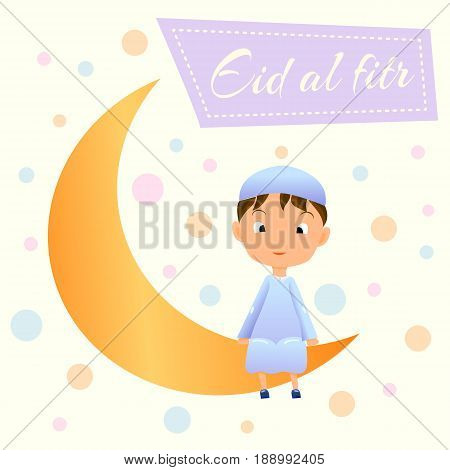 Ramadan Kareem greeting card for Muslim Celebration Ramazan.Happy Muslim Boy on Moon Crescent Card with wish words Eid al-Fitr.Crescent Moon Ramazan w Garland and Smiling Muslim Child in Djellaba.