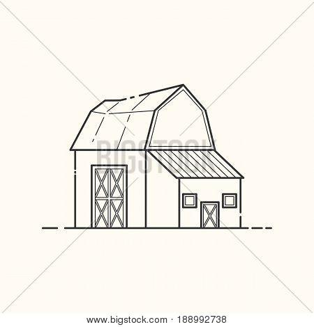 Vector illustration of farm barn. Line art