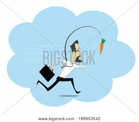 Businessman running around trying to get more profit. Financial trap concept