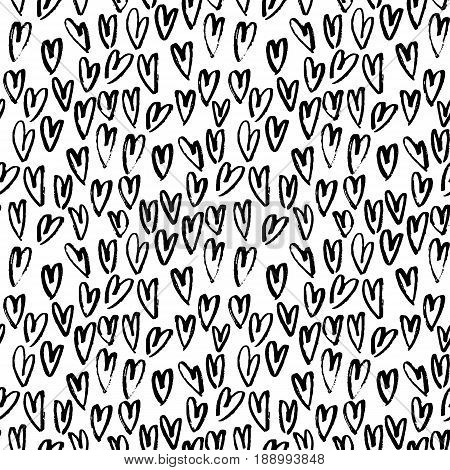 Pattern of hearts hand drawn vector sketch. Seamless heart art background hand drawn by marker. Romantic symbols for love greeting valentines elements.