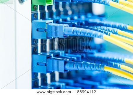 fiber optic active and passive equipment inside a network infrastructure.