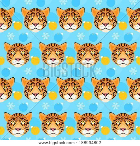 Leopard Seamless Pattern. Winter Holiday Background.