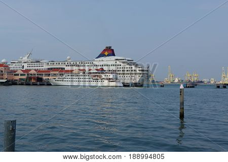 GEORGETOWN, PENANG, MALAYSIA - APRIL 18, 2016. A cruise ship from the superstar line alongside pier in Georgetown Penang.