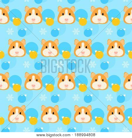 Guinea Pig Seamless Pattern. Winter Holiday Background.