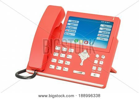 Modern red IP Phone 3D rendering isolated on white background