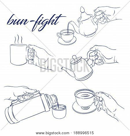 doodle hand bun fight vector sketch illustration isolated over white background