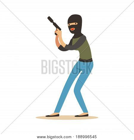 Thief in a black balaclava holding gun, robbery colorful character vector Illustration isolated on a white background