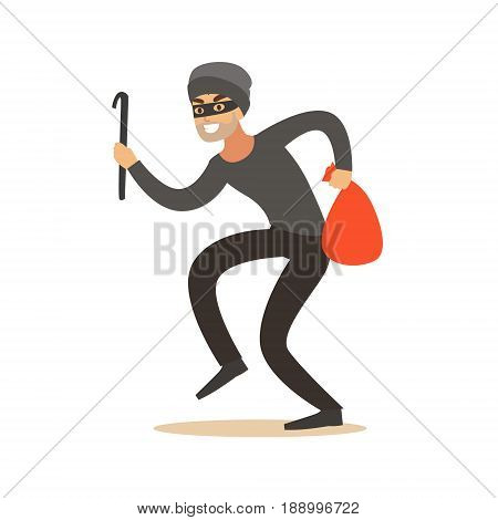 Thief in a mask sneaking with a crowbar and a sack, robbery colorful character vector Illustration isolated on a white background