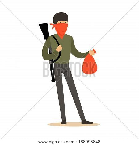 Masked robber with rifle on his shoulder carrying a bag, robbery colorful character vector Illustration isolated on a white background