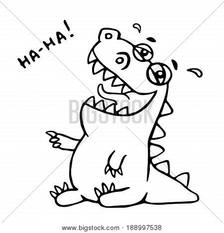 Laughing dinosaur. Vector illustration. Good mood. Funny cute imaginary character.