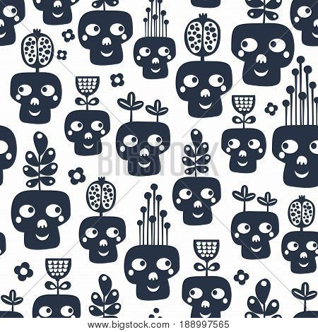 Seamless pattern with monochrome skulls with plants. Vector illustration.