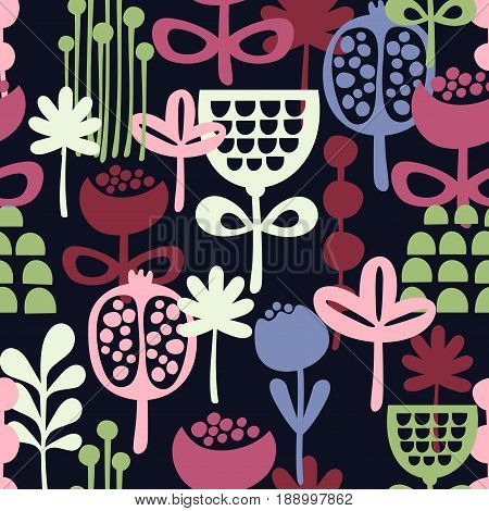 Seamless pattern with abstract flowers. Vector illustration in scandinavian style.