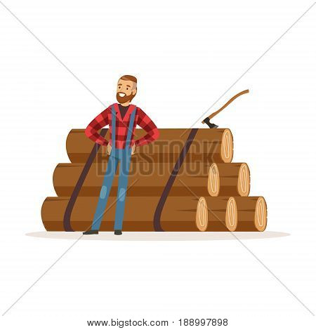 Smiling lumberjack man standing against pile of logs colorful character vector Illustration isolated on a white background
