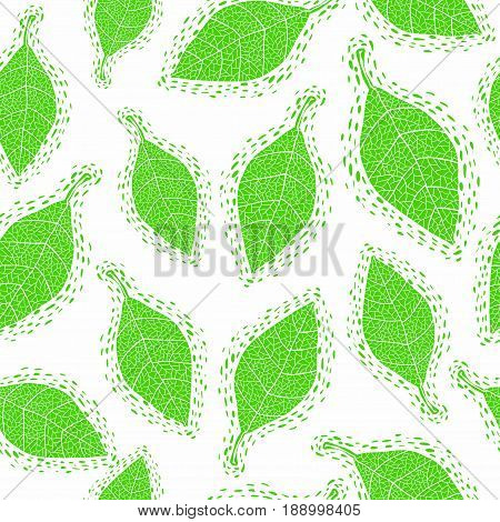 Seamless pattern with cute leaves. Vector design.