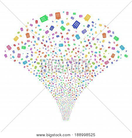 Dustbin salute stream. Vector illustration style is flat bright multicolored iconic symbols on a white background. Object fireworks fountain organized from random design elements.