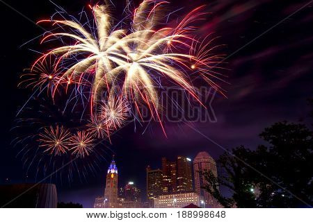 Fourth of July fireworks light up the sky over Columbus, Ohio during the annual Red, White and Boom celebration.