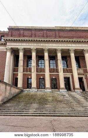 Cambridge, USA - April 29, 2015: Widener Library at Harvard Yard of Harvard University Cambridge Massachusetts in USA.