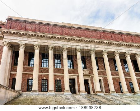 Cambridge, USA - April 29, 2015: Widener Library at Harvard Yard of Harvard University Cambridge Massachusetts USA.