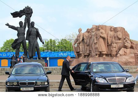 KIEV, UKRAINE - MAY 1, 2011: These are monuments at the People's Friendship Arch which are dedicated to the union of Russian and Ukrainian peoples.