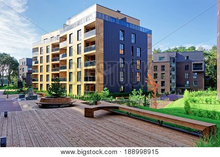 Vilnius, Lithuania - September 30, 2016: Benches at Modern complex of apartment residential buildings. And outdoor facilities.