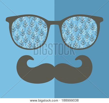 Abstract portrait of retro man in glasses. Vector face illustration.