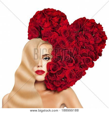 Glamorous Blonde Woman Fashion Model with Long Permed Hairstyle Red Lips Makeup and Heart of Red Rose Flower. Evening Make up and Hollywood wave Hairstyle of Long Shiny Hair.
