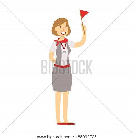 Tourist guide with red flag waiting for guest arrival. Airport and travel. Colorful cartoon character isolated on a white background