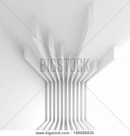 Abstract Interior Design. Office Room Background. White Modern Wallpaper. 3d Rendering