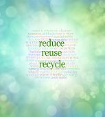 Reduce Reuse Recycle Word Cloud  - Green bokeh background with the words REDUCE REUSE RECYCLE in the centre surrounded by a relevant word cloud poster