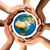 Conceptual symbol of multiracial human hands surrounding the Earth globe. Unity, world peace, humanity concept. Isolated on white background. poster