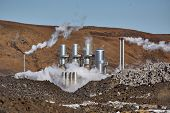Geothermal power plant in Iceland poster
