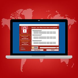 Malware Ransomware wannacry virus encrypted files and show massage for bitcon payment. Vector illustration cybercrime and cyber security concept.