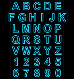 Letters And Numbers Neon Lights Outlined Isolated On Black